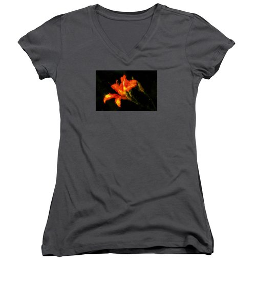 Women's V-Neck T-Shirt (Junior Cut) featuring the digital art A Painted Lily by Cameron Wood