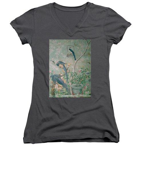 A Pair Of Magpie Jays  Vintage Wallpaper Women's V-Neck T-Shirt (Junior Cut) by John James Audubon