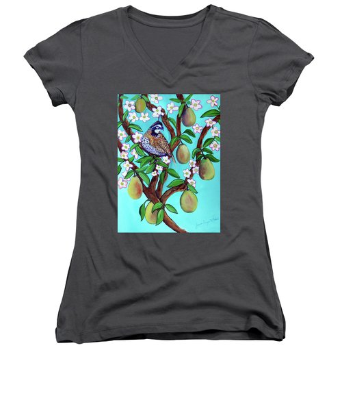 A Partridge In A  Blooming Pear Tree Women's V-Neck T-Shirt