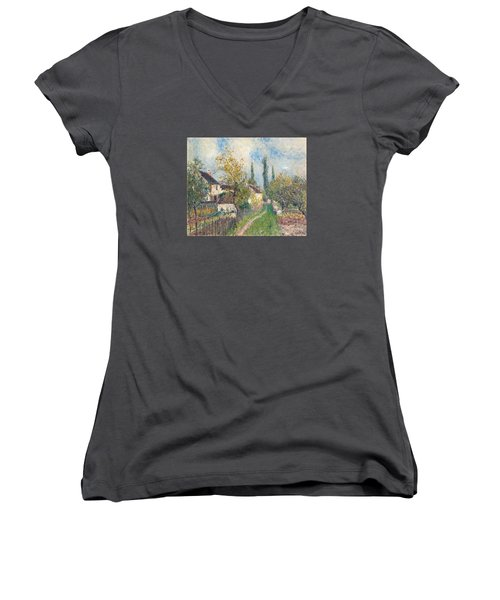 A Path At Les Sablons Women's V-Neck T-Shirt (Junior Cut) by Alfred Sisley