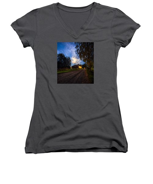 A Peaceful Evening Women's V-Neck (Athletic Fit)