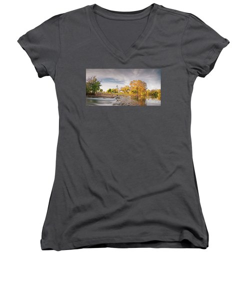 A Peaceful Fall Afternoon At Rio Vista Dam Park - San Marcos Hays County Texas Hill Country Women's V-Neck