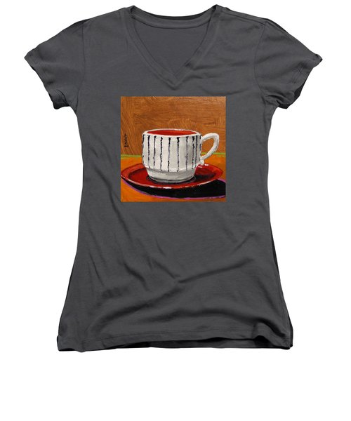 Women's V-Neck T-Shirt (Junior Cut) featuring the painting A Perfect Cup by John Williams