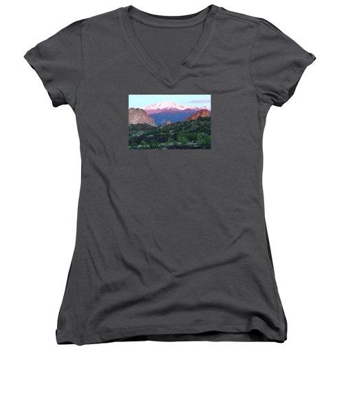 A Pikes Peak Sunrise Women's V-Neck T-Shirt (Junior Cut) by Eric Glaser