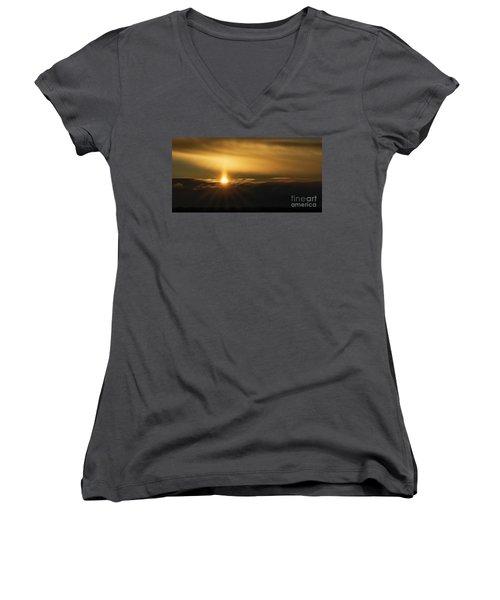 A Pillar Of Golden Light Women's V-Neck T-Shirt (Junior Cut) by Brad Allen Fine Art
