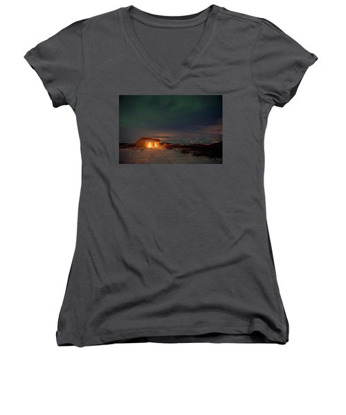 Women's V-Neck T-Shirt featuring the photograph A Place For The Night, South Of Iceland by Dubi Roman