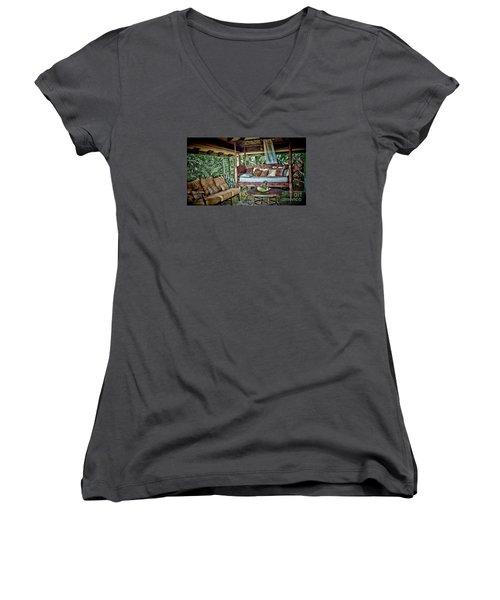 A Place To Retreat Women's V-Neck T-Shirt (Junior Cut) by Pamela Blizzard