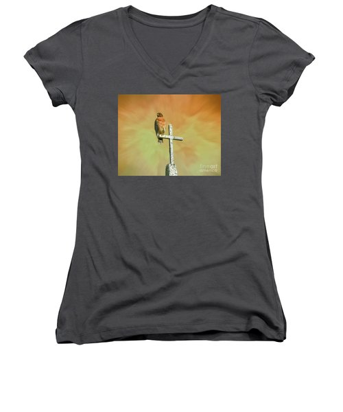 A Powerful Perch Women's V-Neck T-Shirt (Junior Cut) by Myrna Bradshaw
