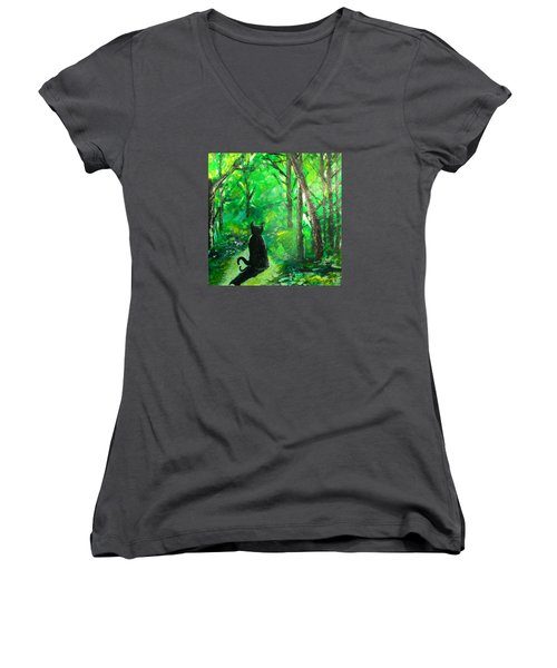A Purrfect Day Women's V-Neck T-Shirt (Junior Cut) by Seth Weaver