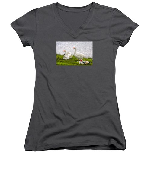 Women's V-Neck T-Shirt (Junior Cut) featuring the photograph A Quiet Moment by Joan Bertucci