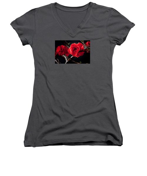 Women's V-Neck T-Shirt (Junior Cut) featuring the photograph A Red Flower by Catherine Lau