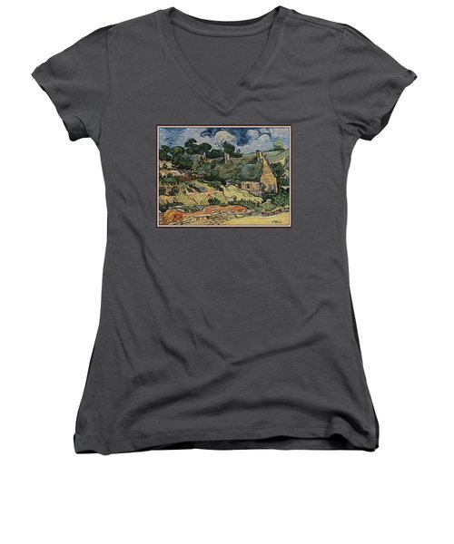 Women's V-Neck T-Shirt (Junior Cut) featuring the digital art a replica of the landscape of Van Gogh by Pemaro