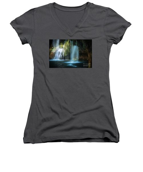 A Resting Place At Natural Falls Women's V-Neck T-Shirt (Junior Cut) by Tamyra Ayles
