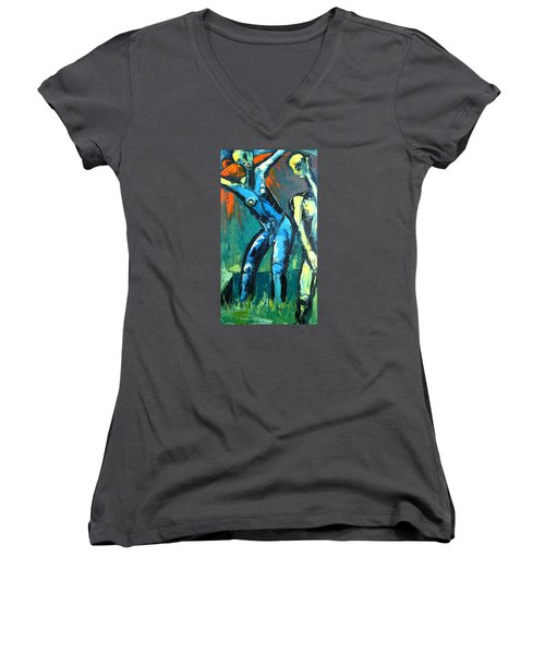 Women's V-Neck T-Shirt (Junior Cut) featuring the painting A Resurrection by Kenneth Agnello