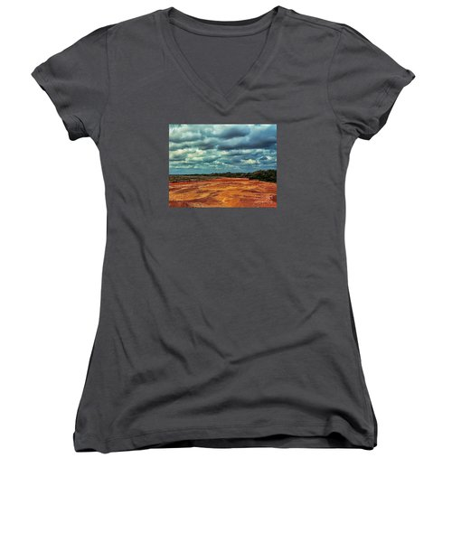 Women's V-Neck T-Shirt (Junior Cut) featuring the photograph A River Of Red Sand by Diana Mary Sharpton