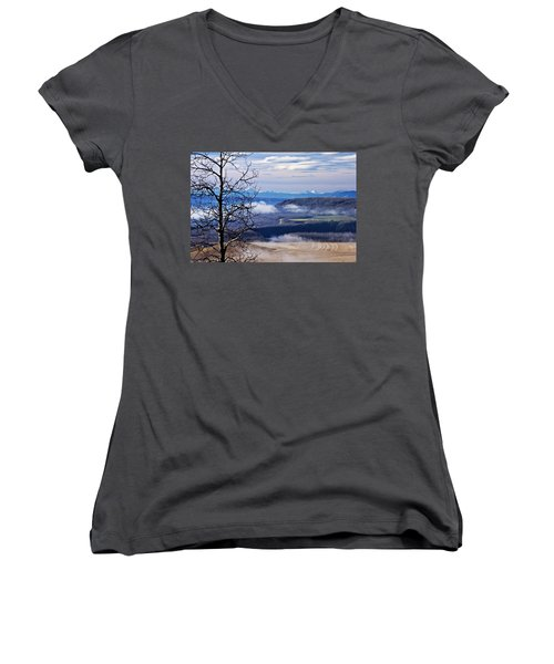 A Road Half Way There Women's V-Neck T-Shirt (Junior Cut) by Sandra Foster
