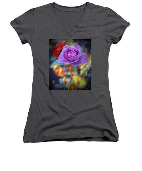 Women's V-Neck T-Shirt (Junior Cut) featuring the photograph A Rose by Vladimir Kholostykh