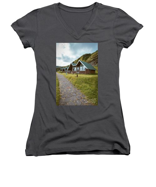 Women's V-Neck T-Shirt featuring the photograph A Row Of Cabins In Iceland by Edward Fielding