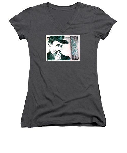 A Sad Portrait Of Chaplin Women's V-Neck (Athletic Fit)