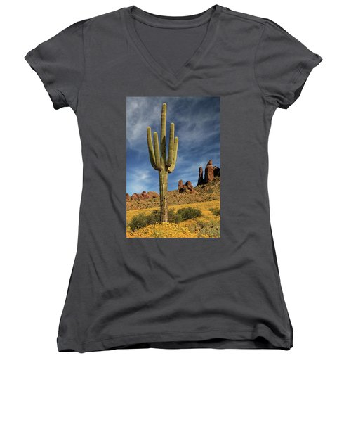 Women's V-Neck T-Shirt featuring the photograph A Saguaro In Spring by James Eddy