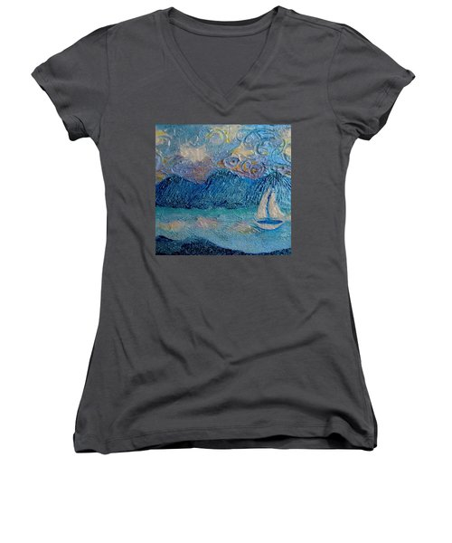A Sailboat For The Mind #2 Women's V-Neck (Athletic Fit)