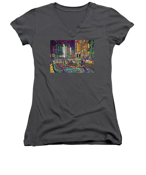 Women's V-Neck T-Shirt (Junior Cut) featuring the painting A San Antonio Christmas by Patti Schermerhorn