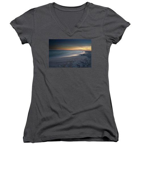 Women's V-Neck T-Shirt (Junior Cut) featuring the photograph A Sandy Shoreline At Sunset by Renee Hardison