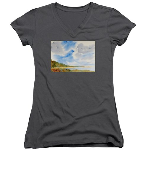 Women's V-Neck featuring the painting A Secluded Inlet Beneath Billowing Clouds by Dorothy Darden
