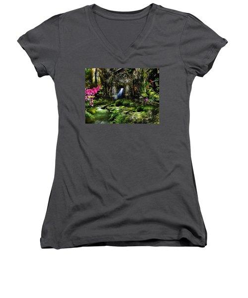 Women's V-Neck T-Shirt (Junior Cut) featuring the mixed media A Secret Place by Gabriella Weninger - David