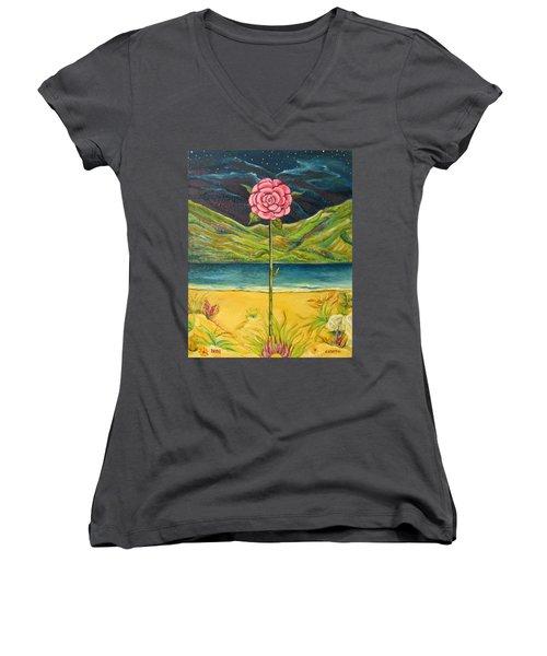A Secret Romance Women's V-Neck T-Shirt (Junior Cut) by John Keaton