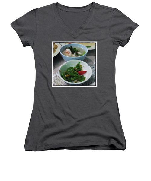 Women's V-Neck featuring the photograph A Side Of Tom Yum Goon With Your by Mr Photojimsf