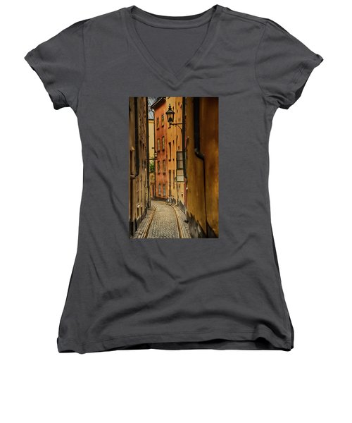 A Side Street In Stockholm Women's V-Neck