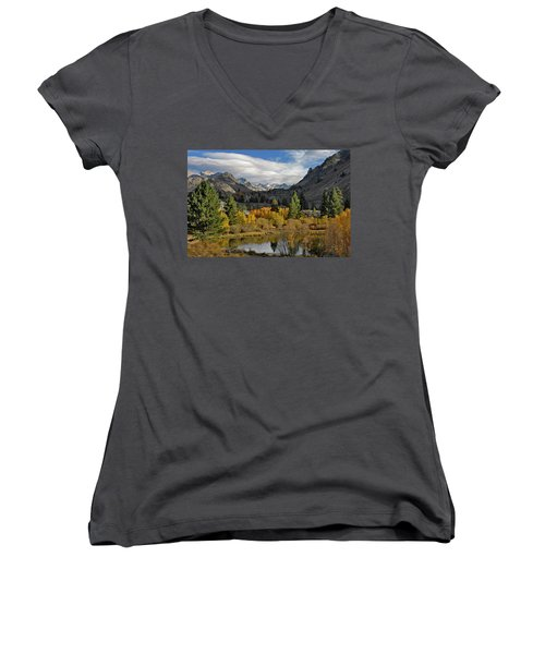 A Sierra Mountain View Women's V-Neck T-Shirt (Junior Cut) by Dave Mills
