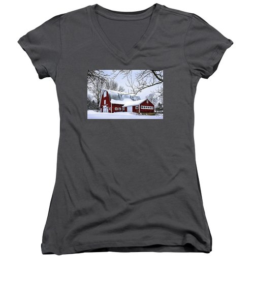 A Snowy Day At Grey Ledge Farm Women's V-Neck T-Shirt (Junior Cut) by Betty Denise