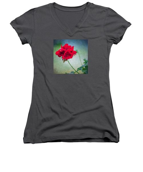 A Splash Of Red Women's V-Neck T-Shirt (Junior Cut)