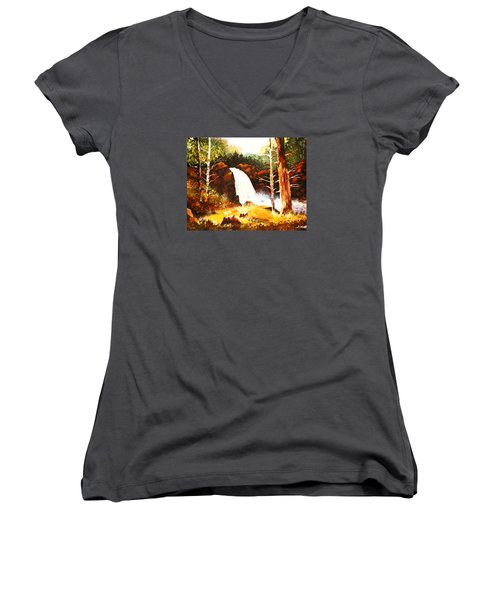 A Spout In The Forest Ll Women's V-Neck T-Shirt