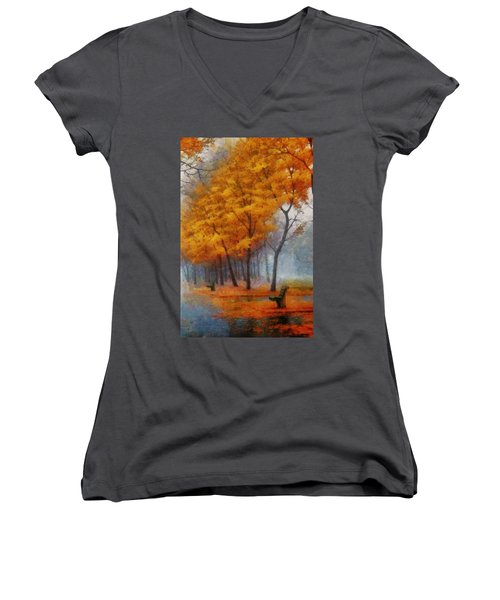 A Stand For Autumn Women's V-Neck T-Shirt (Junior Cut) by Mario Carini