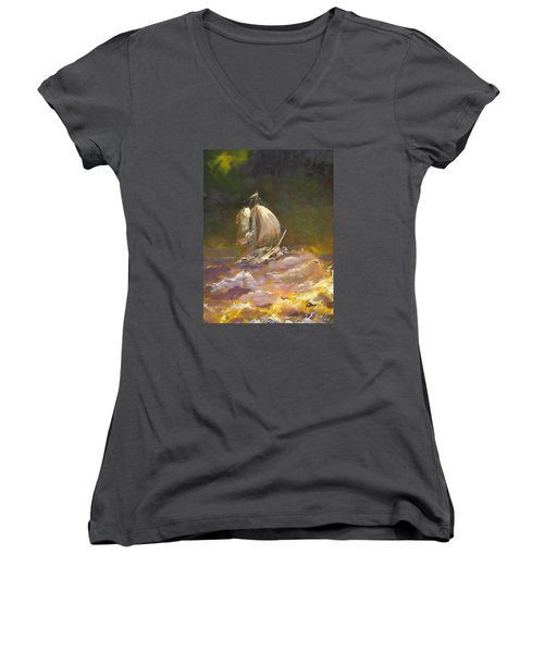 Women's V-Neck T-Shirt (Junior Cut) featuring the painting A Stormy Night At Sea by Dan Whittemore