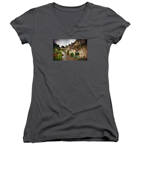 Women's V-Neck T-Shirt (Junior Cut) featuring the photograph A Stroll Down Memory Lane by Mario Carini