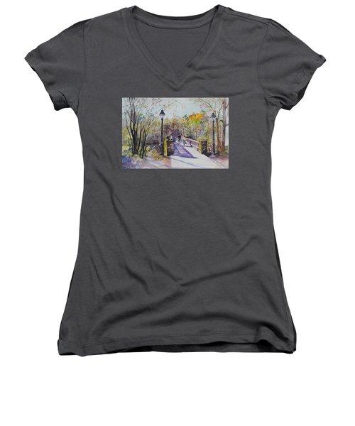A Stroll On The Bridge Women's V-Neck