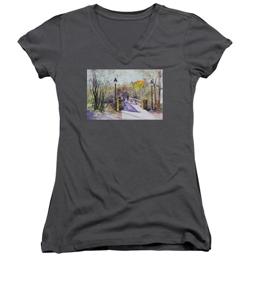 A Stroll On The Bridge Women's V-Neck (Athletic Fit)