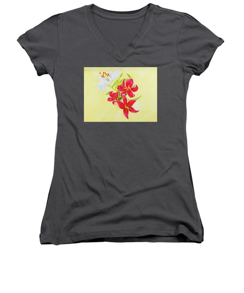 A Study Of Lilies Women's V-Neck