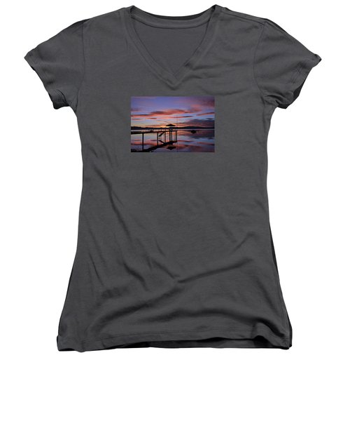 Women's V-Neck T-Shirt (Junior Cut) featuring the photograph A Sunrise To Wake The Dead  by Sean Sarsfield