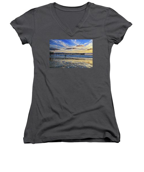 A Surfer Heads Home Under A Cloudy Sunset At Crystal Pier Women's V-Neck