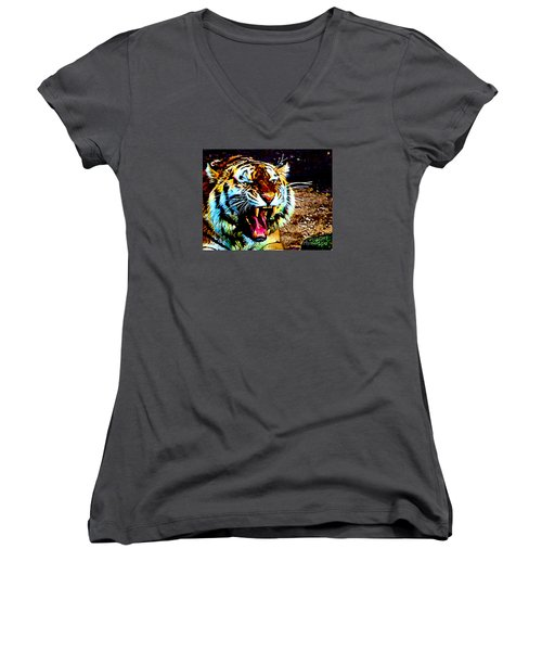 A Tiger's Roar Women's V-Neck T-Shirt