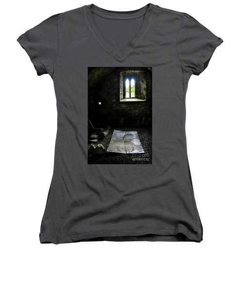 Women's V-Neck T-Shirt (Junior Cut) featuring the photograph A Tombstone In Sligo Abbey by RicardMN Photography
