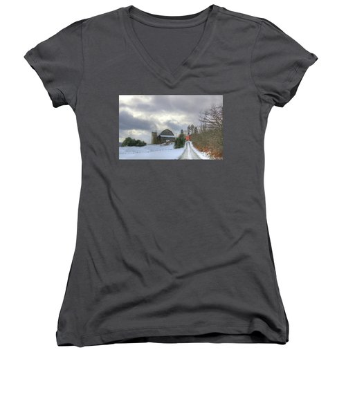 Women's V-Neck T-Shirt (Junior Cut) featuring the photograph A Touch Of Snow by Sharon Batdorf