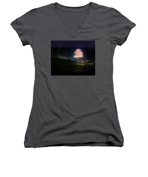 A Train's A Comin' 1948 Women's V-Neck T-Shirt (Junior Cut) by J Griff Griffin