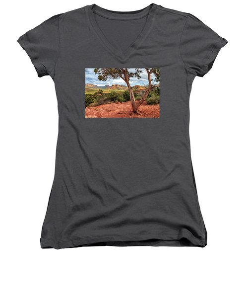 A Tree In Sedona Women's V-Neck T-Shirt (Junior Cut) by James Eddy