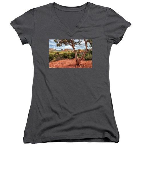 A Tree In Sedona Women's V-Neck T-Shirt